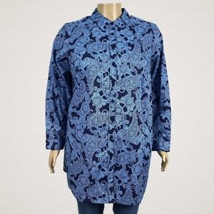 Roaman's Floral Paisley Button Up Shirt Top 18W